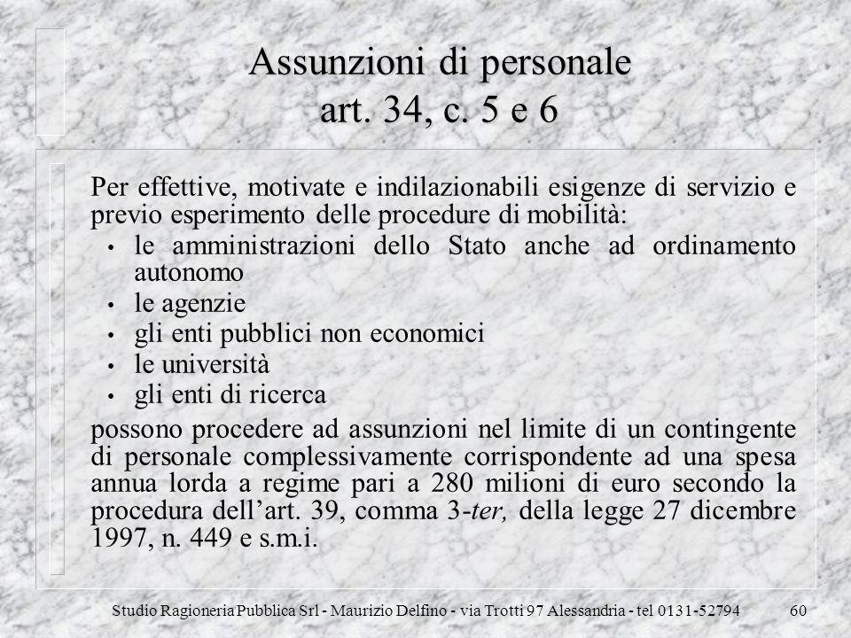 Studio Ragioneria Pubblica Srl - Maurizio Delfino - via Trotti 97 Alessandria - tel 0131-5279460 Assunzioni di personale art. 34, c. 5 e 6 Per effetti