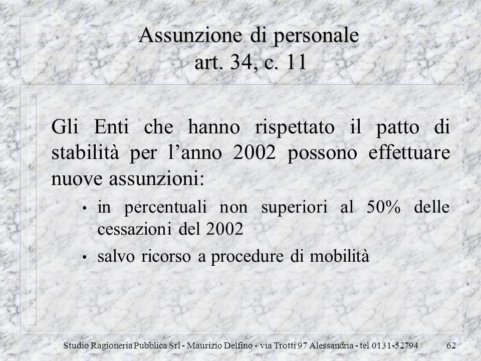 Studio Ragioneria Pubblica Srl - Maurizio Delfino - via Trotti 97 Alessandria - tel 0131-5279462 Assunzione di personale art. 34, c. 11 Gli Enti che h