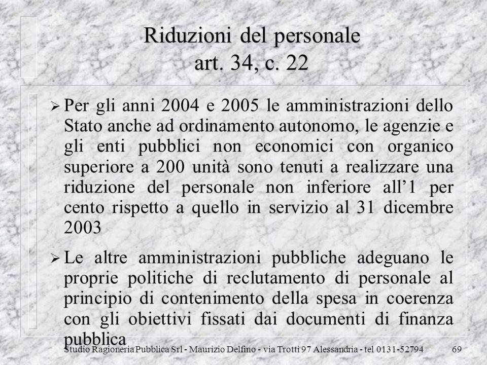 Studio Ragioneria Pubblica Srl - Maurizio Delfino - via Trotti 97 Alessandria - tel 0131-5279469 Riduzioni del personale art. 34, c. 22 Per gli anni 2