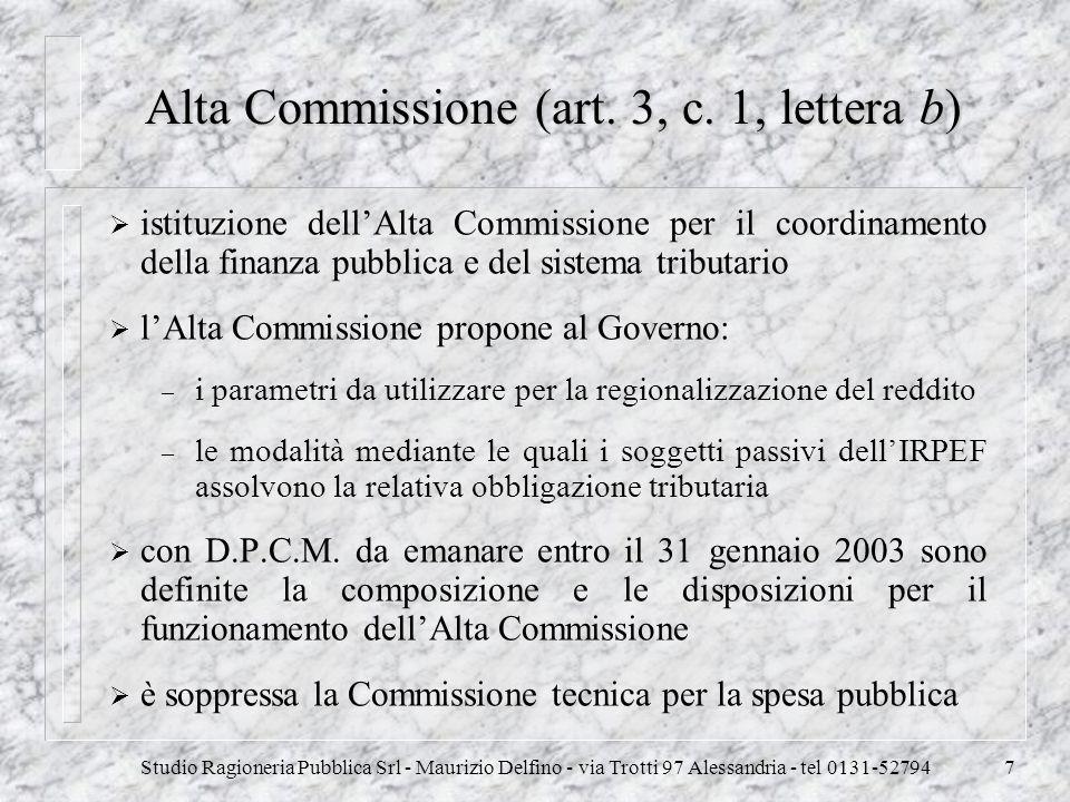 Studio Ragioneria Pubblica Srl - Maurizio Delfino - via Trotti 97 Alessandria - tel 0131-527947 Alta Commissione (art. 3, c. 1, lettera b) istituzione