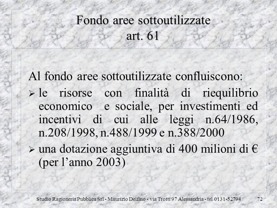 Studio Ragioneria Pubblica Srl - Maurizio Delfino - via Trotti 97 Alessandria - tel 0131-5279472 Fondo aree sottoutilizzate art. 61 Al fondo aree sott
