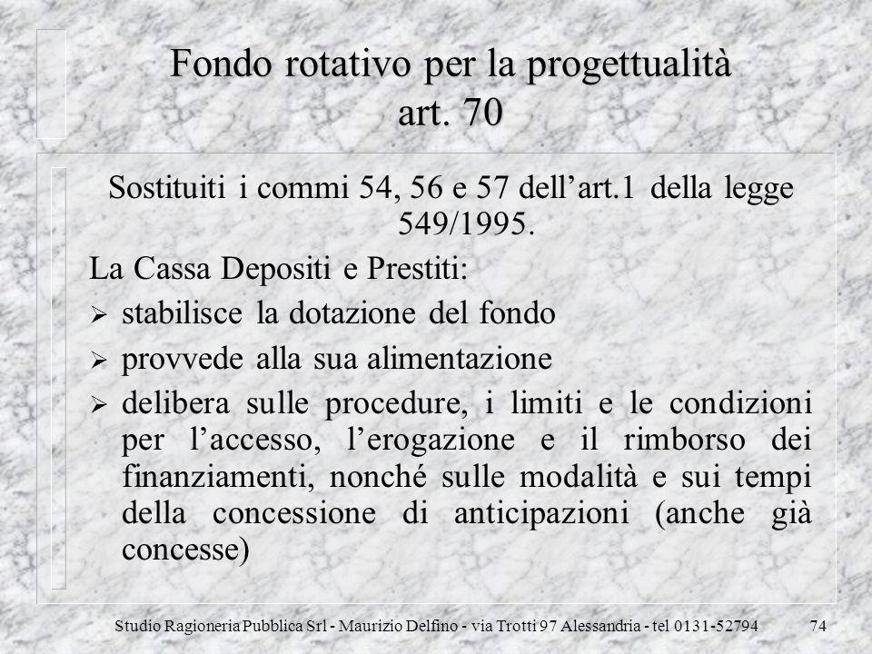 Studio Ragioneria Pubblica Srl - Maurizio Delfino - via Trotti 97 Alessandria - tel 0131-5279474 Fondo rotativo per la progettualità art. 70 Sostituit