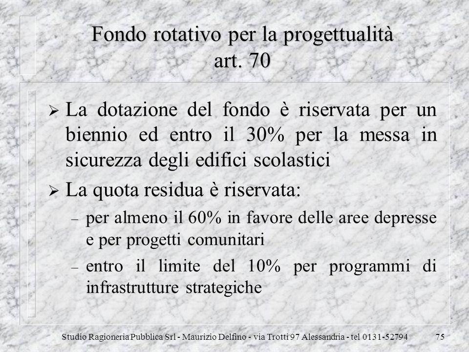 Studio Ragioneria Pubblica Srl - Maurizio Delfino - via Trotti 97 Alessandria - tel 0131-5279475 Fondo rotativo per la progettualità art. 70 La dotazi