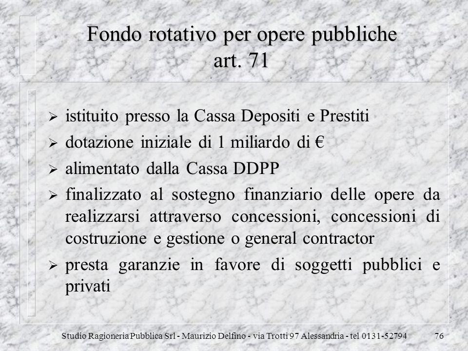 Studio Ragioneria Pubblica Srl - Maurizio Delfino - via Trotti 97 Alessandria - tel 0131-5279476 Fondo rotativo per opere pubbliche art. 71 istituito