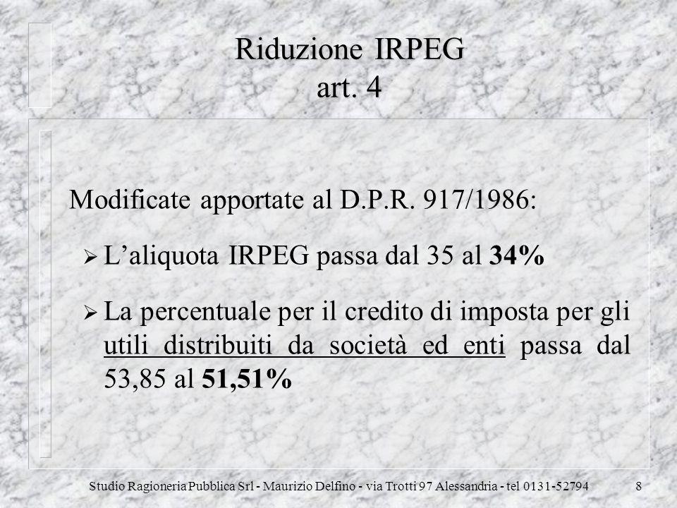 Studio Ragioneria Pubblica Srl - Maurizio Delfino - via Trotti 97 Alessandria - tel 0131-527948 Riduzione IRPEG art. 4 Modificate apportate al D.P.R.