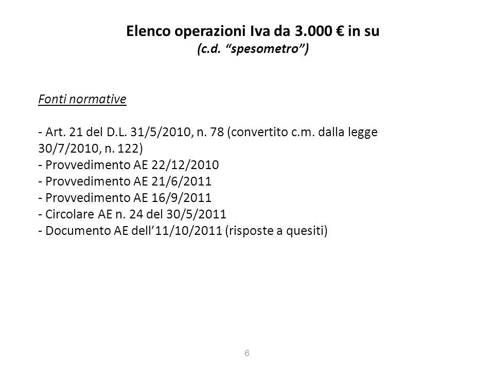 Elenco operazioni Iva da 3.000 in su (c.d.spesometro) Fonti normative - Art.