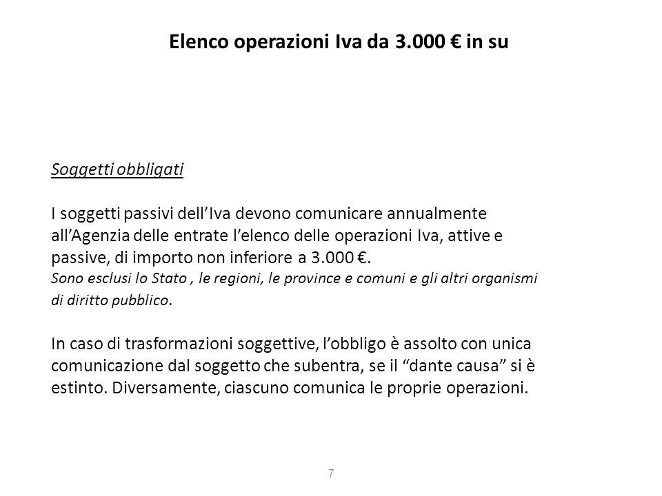 Elenco operazioni Iva da 3.000 in su Oggetto della comunicazione Operazioni rilevanti ai fini Iva (cessioni di beni e prestazioni di servizi effettuate e ricevute), di importo non inferiore a 3.000.
