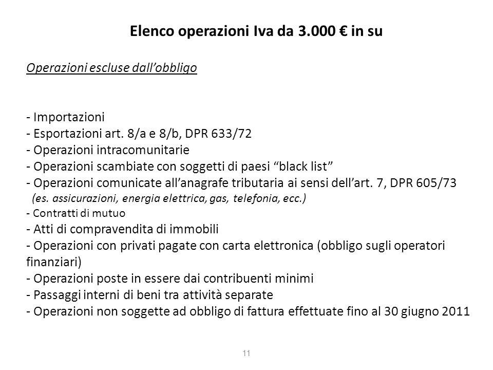 Elenco operazioni Iva da 3.000 in su Operazioni escluse dallobbligo - Importazioni - Esportazioni art.