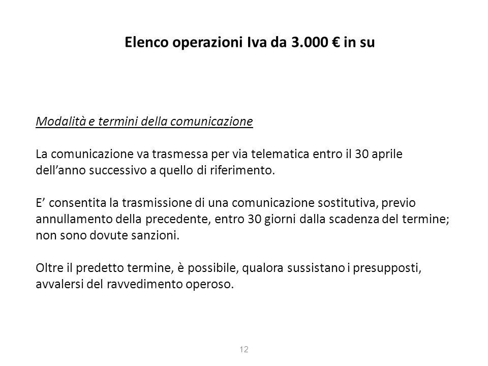 Elenco operazioni Iva da 3.000 in su Modalità e termini della comunicazione La comunicazione va trasmessa per via telematica entro il 30 aprile dellanno successivo a quello di riferimento.