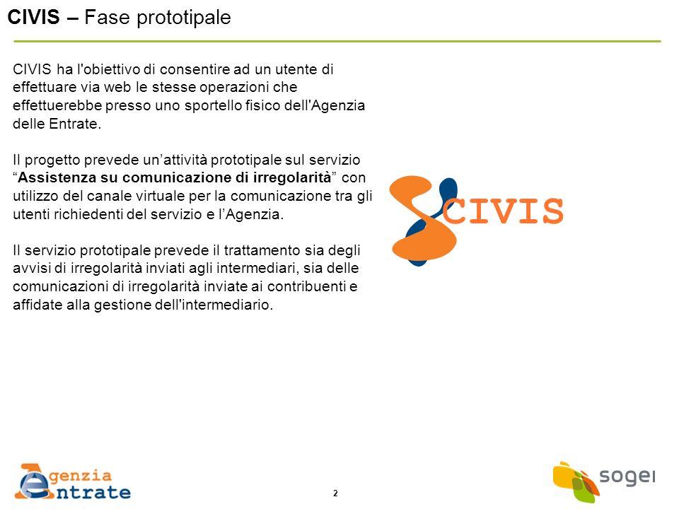 2 CIVIS – Fase prototipale CIVIS ha l'obiettivo di consentire ad un utente di effettuare via web le stesse operazioni che effettuerebbe presso uno spo