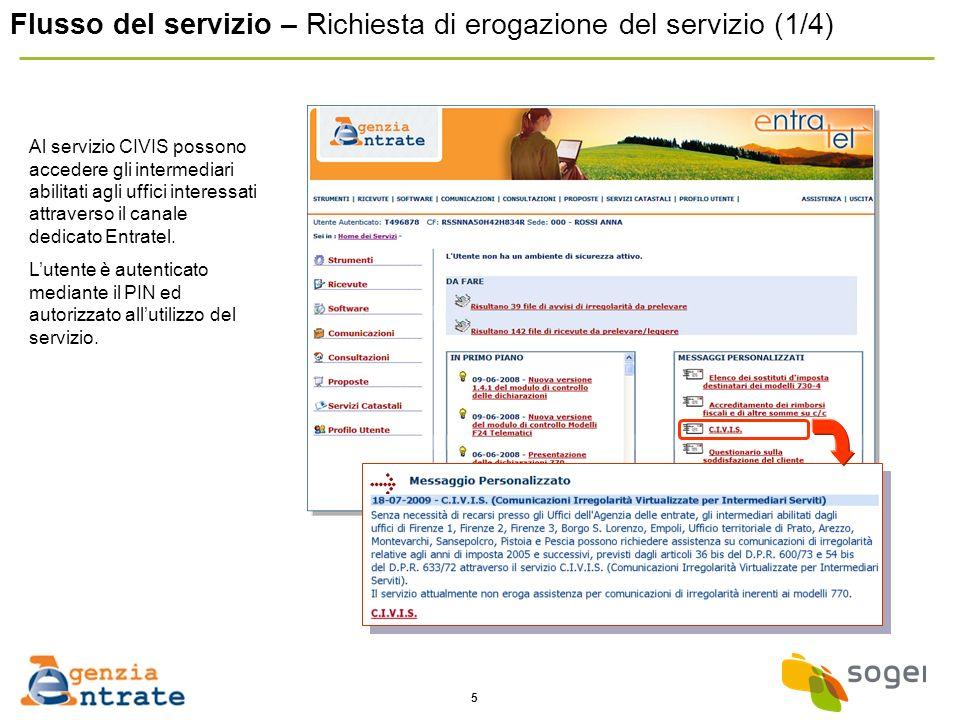 5 Flusso del servizio – Richiesta di erogazione del servizio (1/4) Al servizio CIVIS possono accedere gli intermediari abilitati agli uffici interessati attraverso il canale dedicato Entratel.