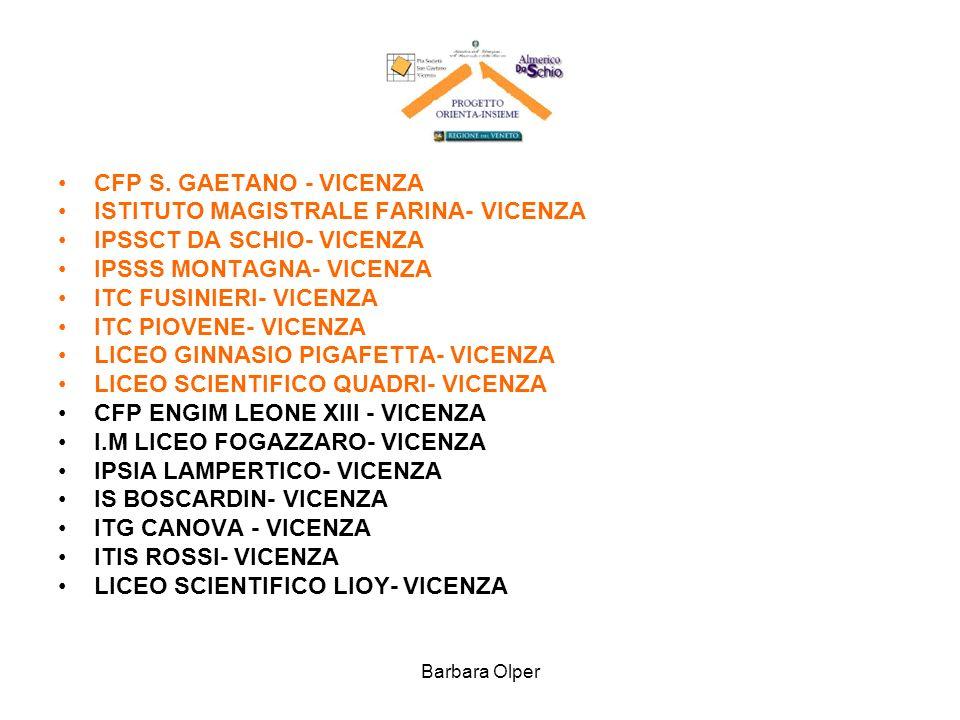 Barbara Olper CFP S. GAETANO - VICENZA ISTITUTO MAGISTRALE FARINA- VICENZA IPSSCT DA SCHIO- VICENZA IPSSS MONTAGNA- VICENZA ITC FUSINIERI- VICENZA ITC
