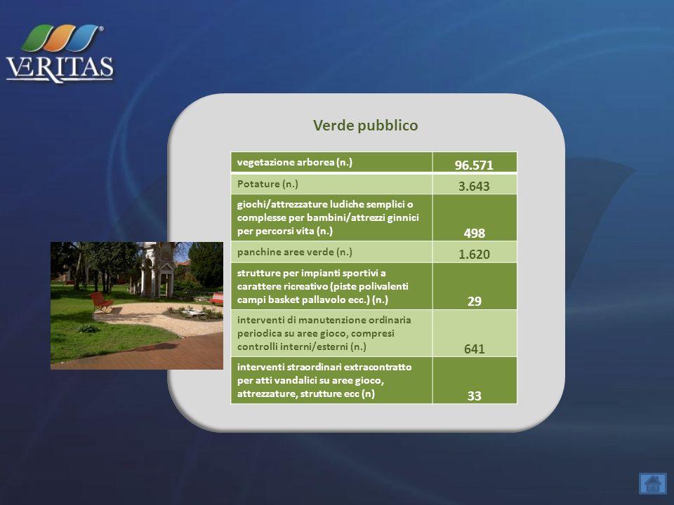 Verde pubblico vegetazione arborea (n.) 96.571 Potature (n.) 3.643 giochi/attrezzature ludiche semplici o complesse per bambini/attrezzi ginnici per p
