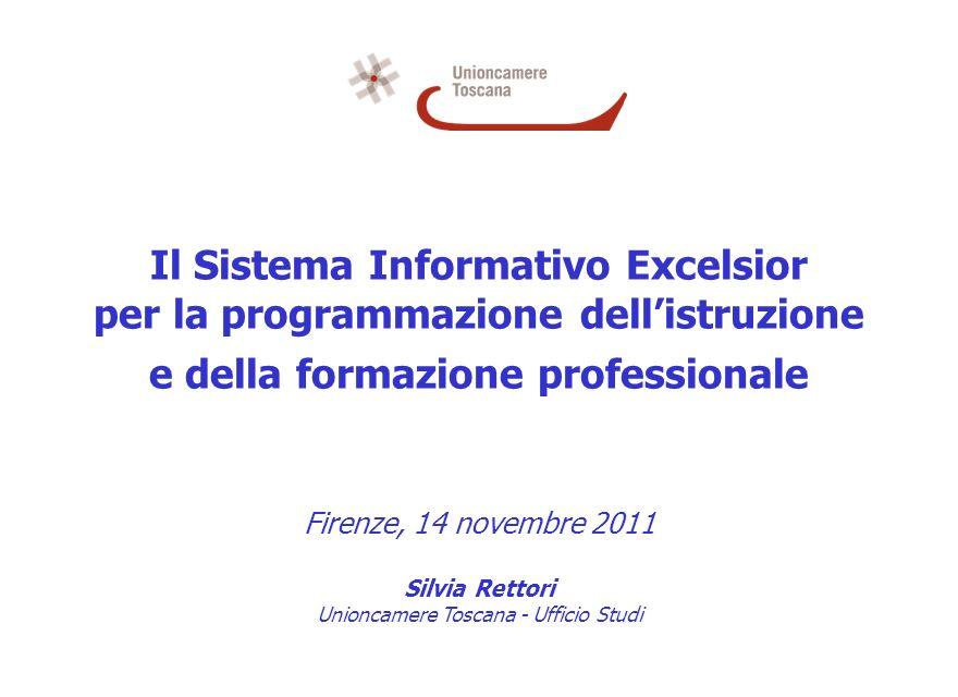 Il Sistema Informativo Excelsior per la programmazione dellistruzione e della formazione professionale Firenze, 14 novembre 2011 Silvia Rettori Unioncamere Toscana - Ufficio Studi