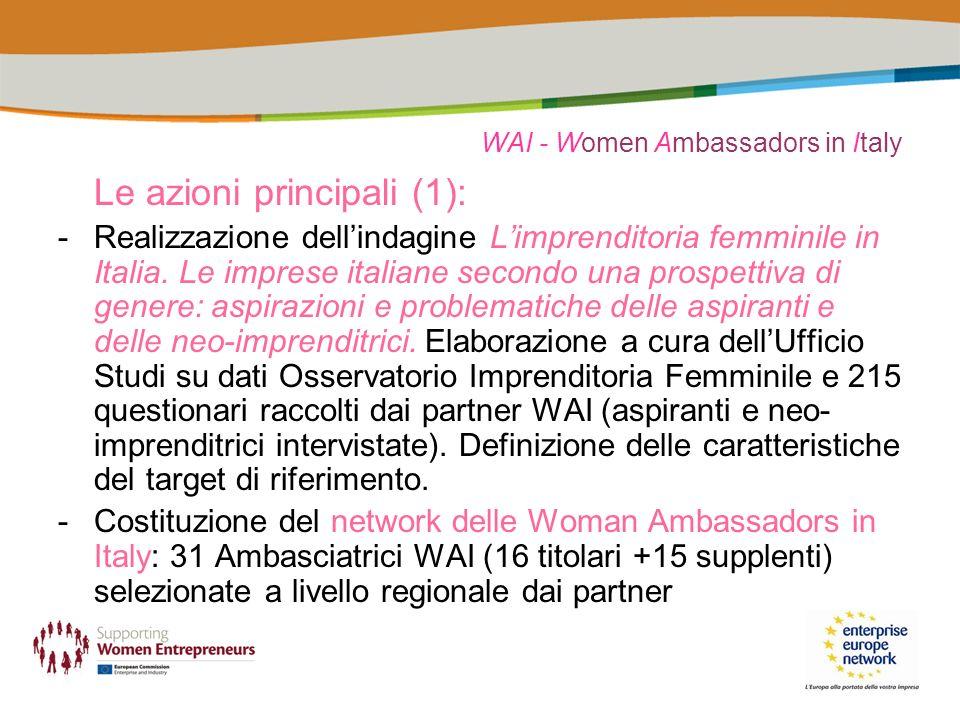 WAI - Women Ambassadors in Italy Le azioni principali (1): -Realizzazione dellindagine Limprenditoria femminile in Italia.