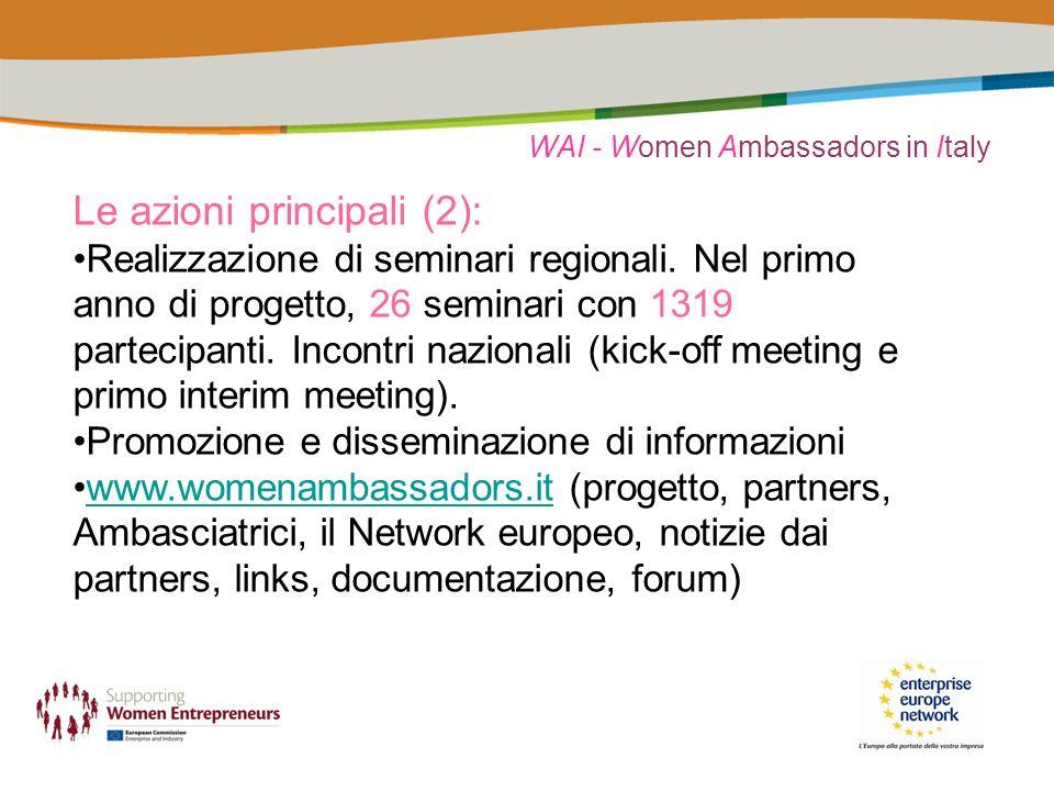 WAI - Women Ambassadors in Italy Nei seminari WAI: Le neo-imprenditrici o aspiranti imprenditrici affrontano argomenti correlati alla fase di start-up dellimpresa Possono attingere al carico di esperienza, competenze, entusiasmo delle Ambasciatrici; le Ambasciatrici presentano la loro storia, la propria idea imprenditoriale, le proprie esperienze professionali,aprendosi al dialogo con le intervenute.