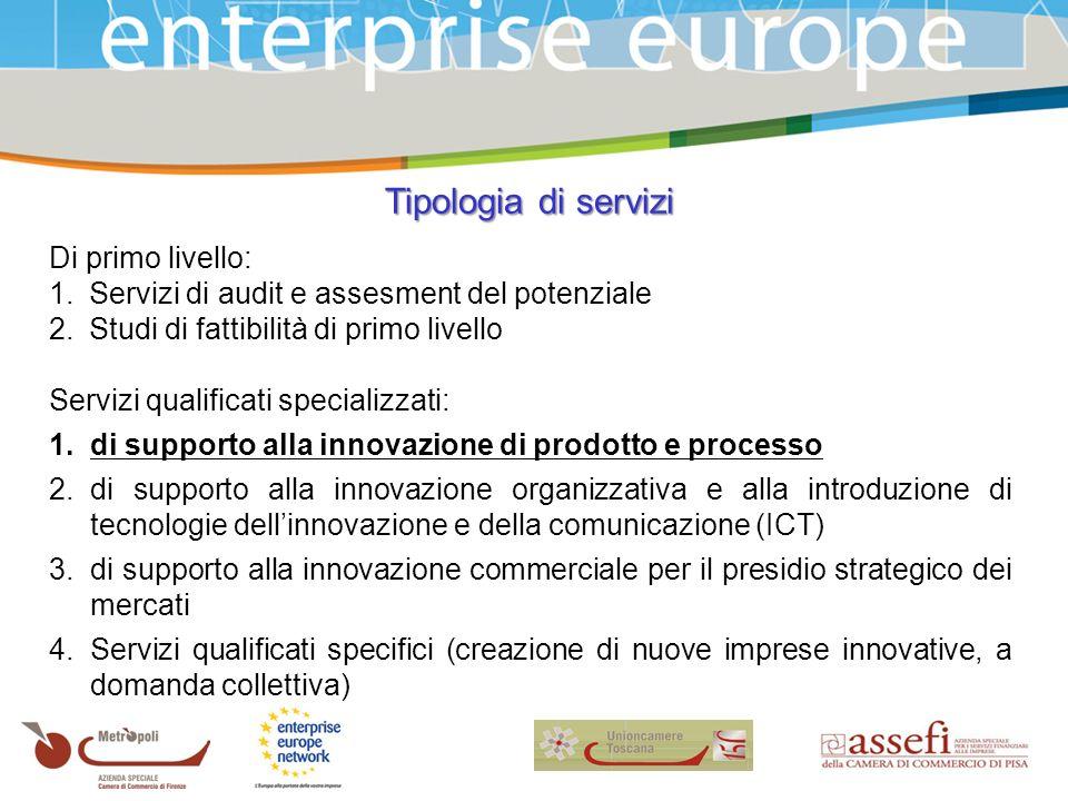 Tipologia di servizi Di primo livello: 1.Servizi di audit e assesment del potenziale 2.Studi di fattibilità di primo livello Servizi qualificati specializzati: 1.di supporto alla innovazione di prodotto e processo 2.di supporto alla innovazione organizzativa e alla introduzione di tecnologie dellinnovazione e della comunicazione (ICT) 3.di supporto alla innovazione commerciale per il presidio strategico dei mercati 4.Servizi qualificati specifici (creazione di nuove imprese innovative, a domanda collettiva)