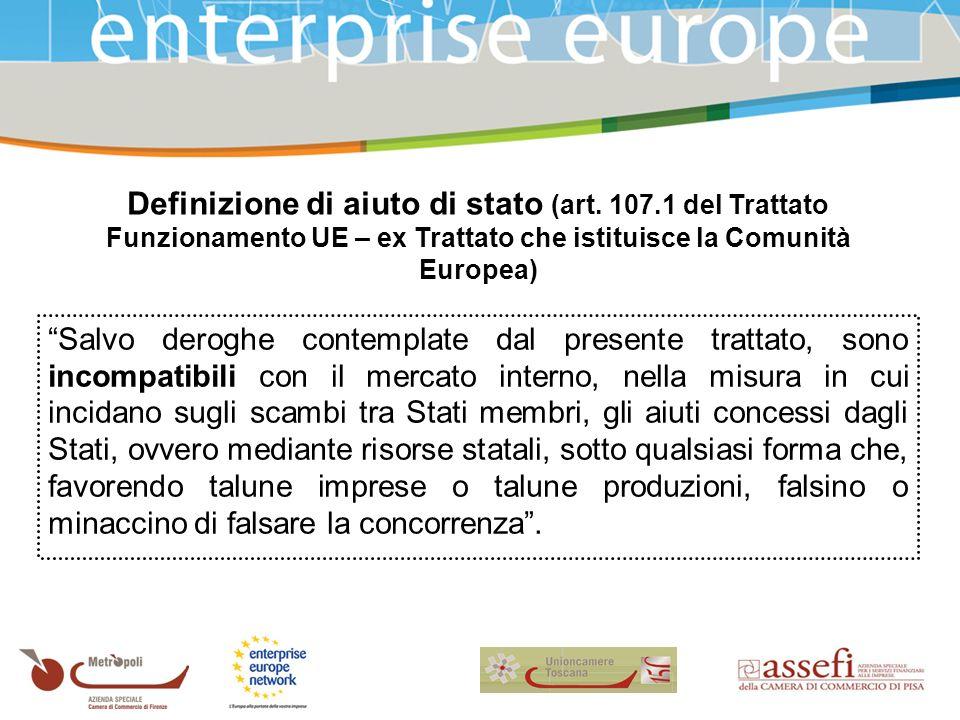 Definizione di aiuto di stato (art.