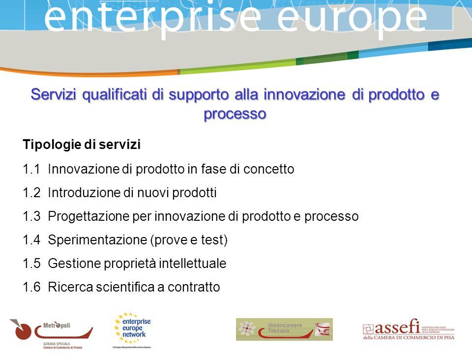 Tipologie di servizi 1.1 Innovazione di prodotto in fase di concetto 1.2 Introduzione di nuovi prodotti 1.3 Progettazione per innovazione di prodotto e processo 1.4 Sperimentazione (prove e test) 1.5 Gestione proprietà intellettuale 1.6 Ricerca scientifica a contratto