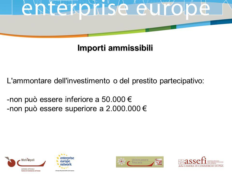 Importi ammissibili L ammontare dell investimento o del prestito partecipativo: -non può essere inferiore a 50.000 -non può essere superiore a 2.000.000