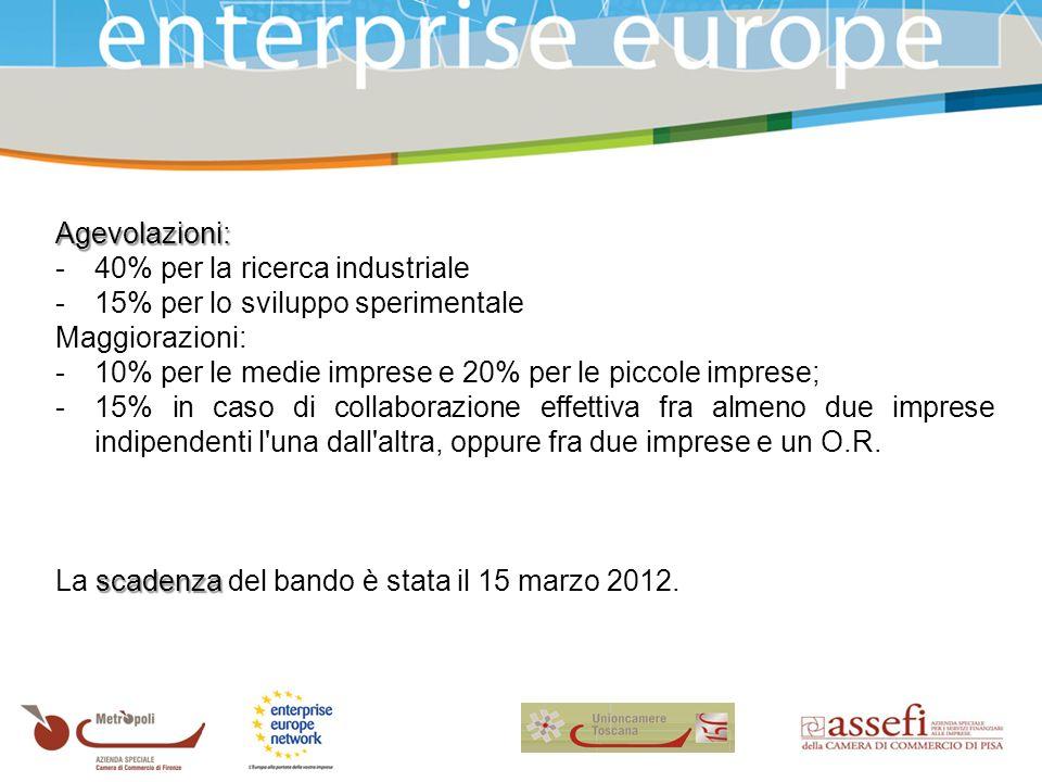 Agevolazioni: -40% per la ricerca industriale -15% per lo sviluppo sperimentale Maggiorazioni: -10% per le medie imprese e 20% per le piccole imprese; -15% in caso di collaborazione effettiva fra almeno due imprese indipendenti l una dall altra, oppure fra due imprese e un O.R.