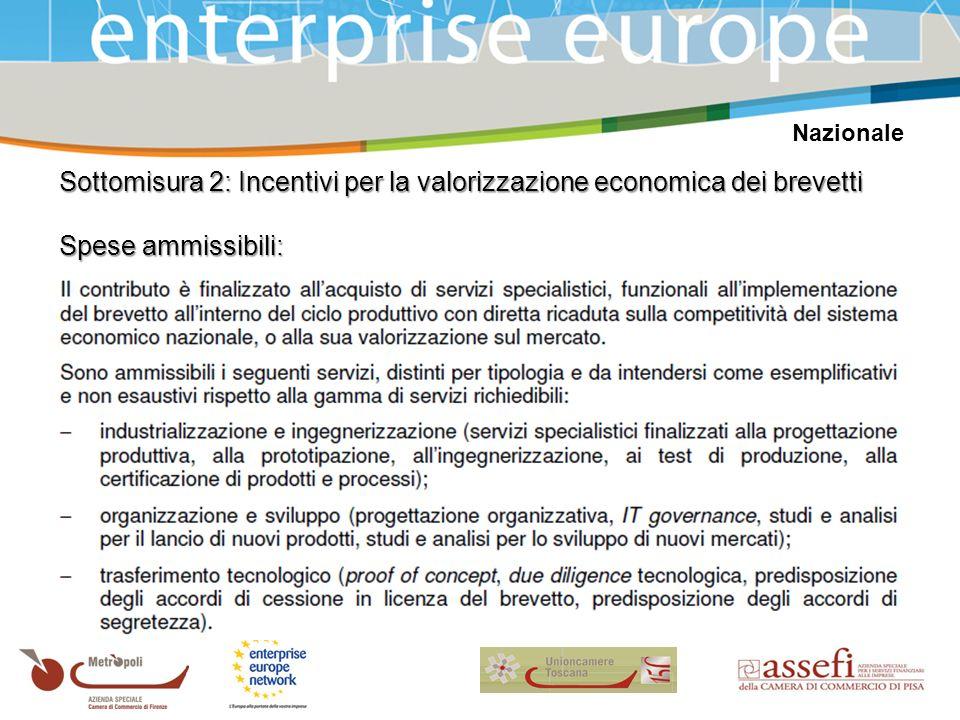 Nazionale Sottomisura 2: Incentivi per la valorizzazione economica dei brevetti Spese ammissibili: