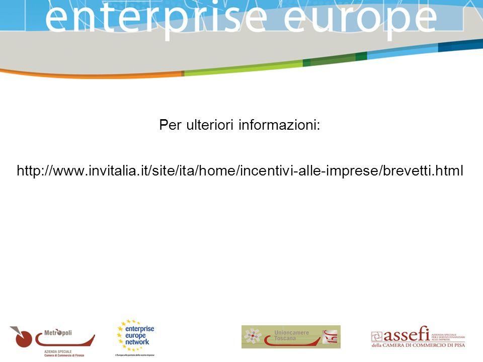 Per ulteriori informazioni: http://www.invitalia.it/site/ita/home/incentivi-alle-imprese/brevetti.html