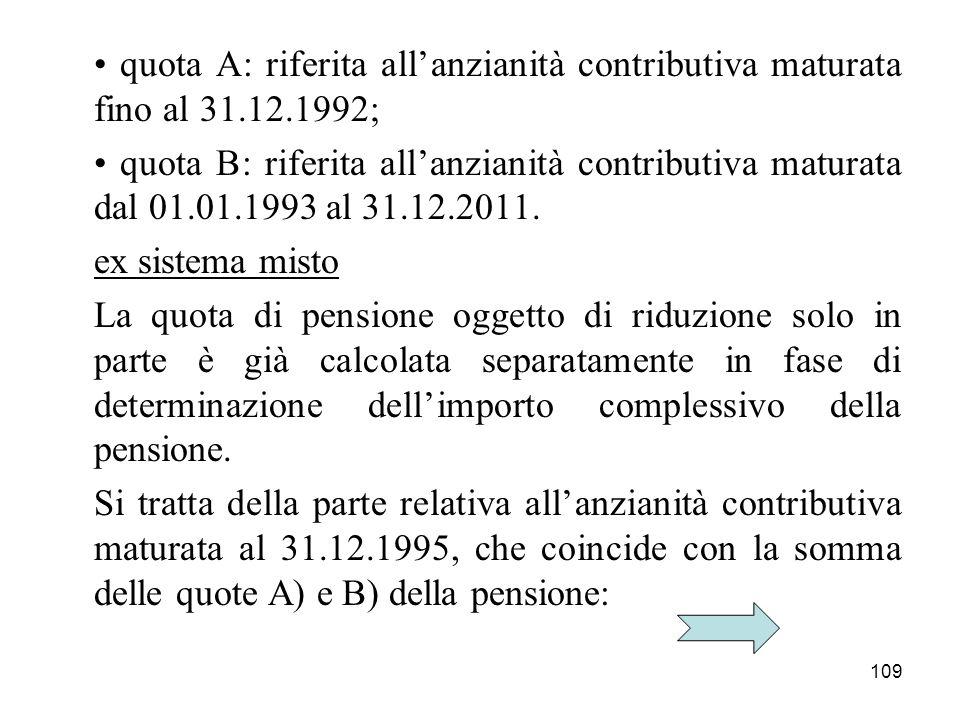 109 quota A: riferita allanzianità contributiva maturata fino al 31.12.1992; quota B: riferita allanzianità contributiva maturata dal 01.01.1993 al 31