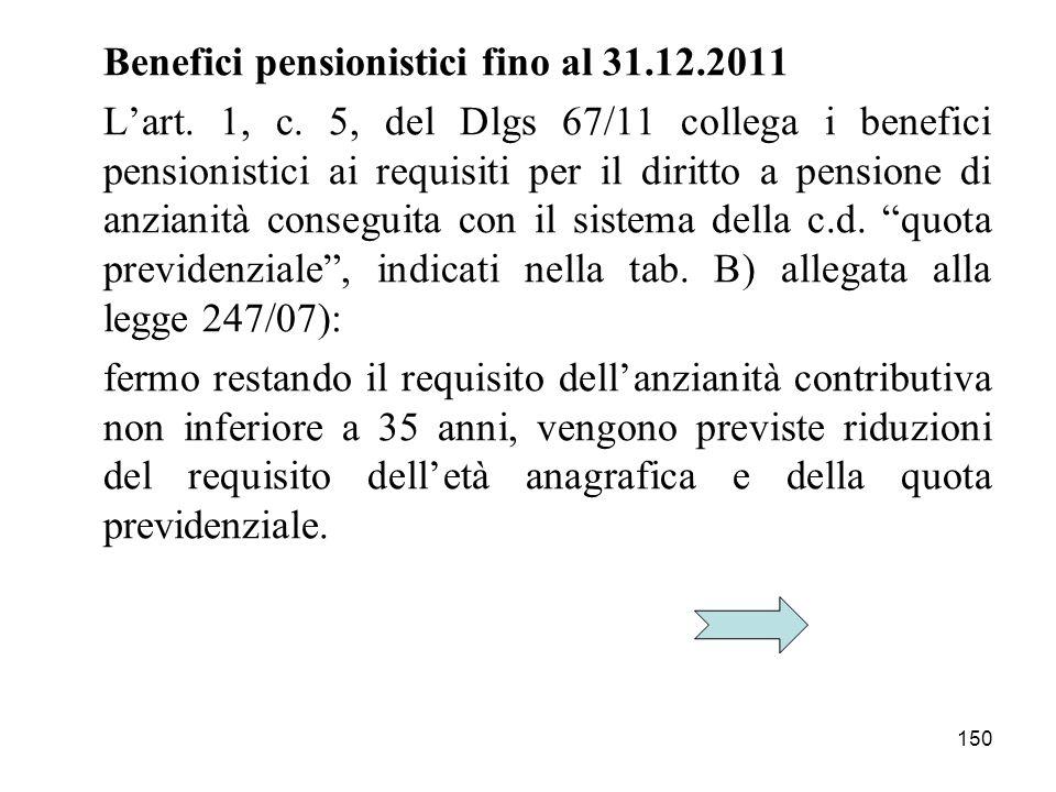 150 Benefici pensionistici fino al 31.12.2011 Lart. 1, c. 5, del Dlgs 67/11 collega i benefici pensionistici ai requisiti per il diritto a pensione di