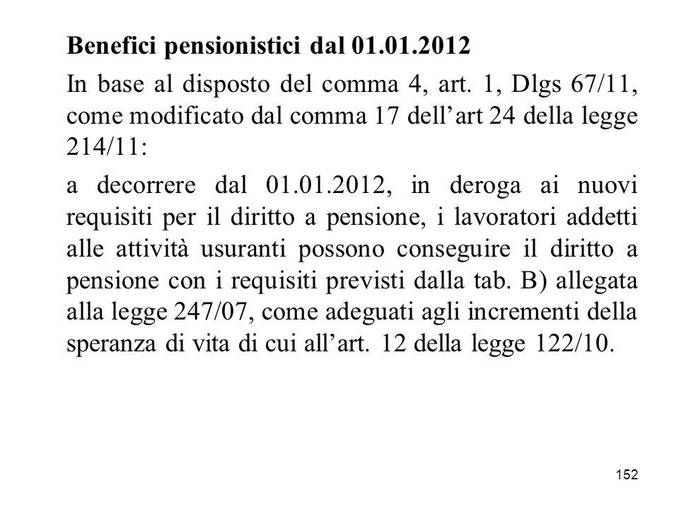 152 Benefici pensionistici dal 01.01.2012 In base al disposto del comma 4, art. 1, Dlgs 67/11, come modificato dal comma 17 dellart 24 della legge 214