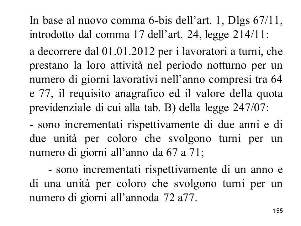 155 In base al nuovo comma 6-bis dellart. 1, Dlgs 67/11, introdotto dal comma 17 dellart. 24, legge 214/11: a decorrere dal 01.01.2012 per i lavorator