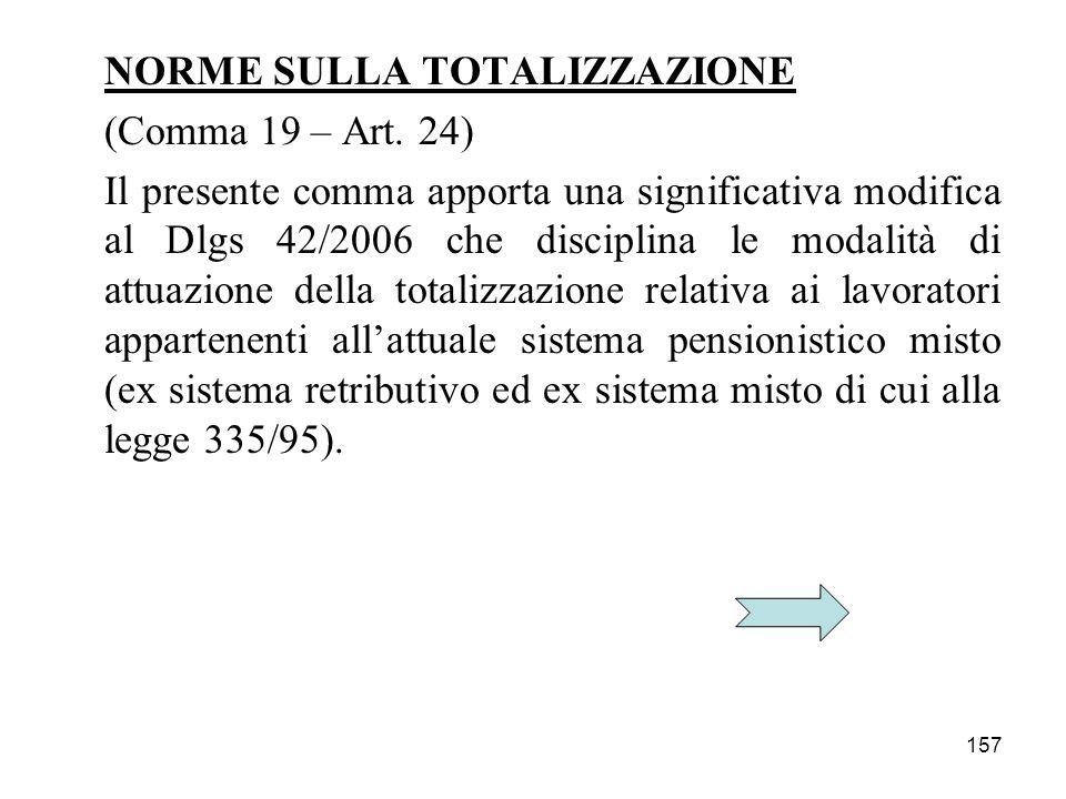 157 NORME SULLA TOTALIZZAZIONE (Comma 19 – Art. 24) Il presente comma apporta una significativa modifica al Dlgs 42/2006 che disciplina le modalità di