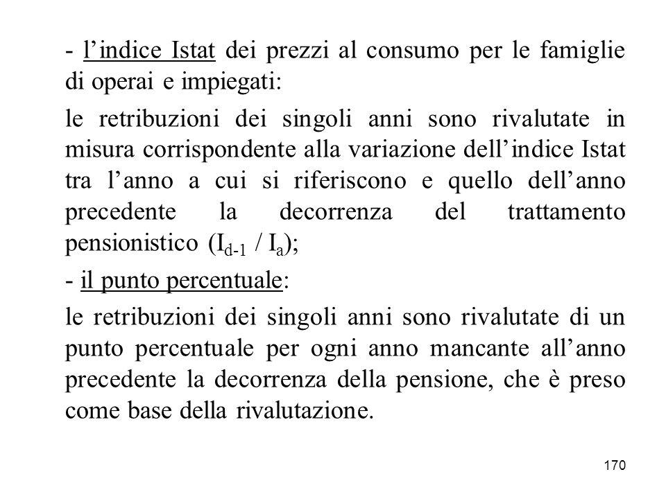170 - lindice Istat dei prezzi al consumo per le famiglie di operai e impiegati: le retribuzioni dei singoli anni sono rivalutate in misura corrispond