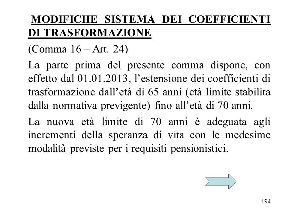 194 MODIFICHE SISTEMA DEI COEFFICIENTI DI TRASFORMAZIONE (Comma 16 – Art. 24) La parte prima del presente comma dispone, con effetto dal 01.01.2013, l