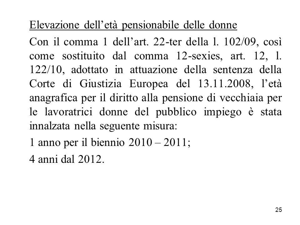 25 Elevazione delletà pensionabile delle donne Con il comma 1 dellart. 22-ter della l. 102/09, così come sostituito dal comma 12-sexies, art. 12, l. 1