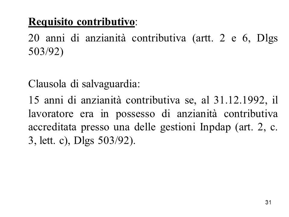 31 Requisito contributivo: 20 anni di anzianità contributiva (artt. 2 e 6, Dlgs 503/92) Clausola di salvaguardia: 15 anni di anzianità contributiva se