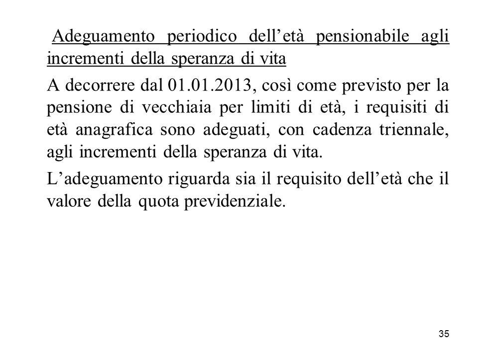 35 Adeguamento periodico delletà pensionabile agli incrementi della speranza di vita A decorrere dal 01.01.2013, così come previsto per la pensione di