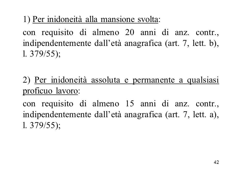 42 1) Per inidoneità alla mansione svolta: con requisito di almeno 20 anni di anz. contr., indipendentemente dalletà anagrafica (art. 7, lett. b), l.