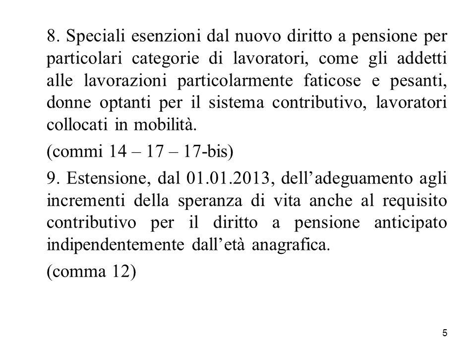 5 8. Speciali esenzioni dal nuovo diritto a pensione per particolari categorie di lavoratori, come gli addetti alle lavorazioni particolarmente fatico