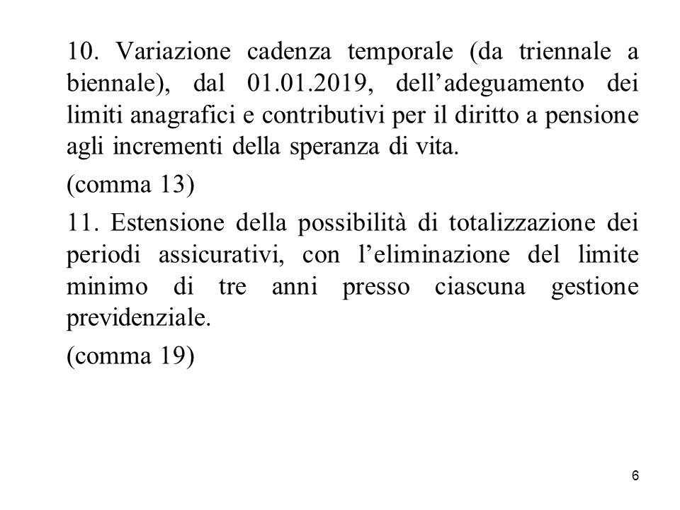 6 10. Variazione cadenza temporale (da triennale a biennale), dal 01.01.2019, delladeguamento dei limiti anagrafici e contributivi per il diritto a pe