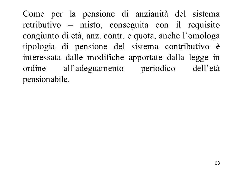 63 Come per la pensione di anzianità del sistema retributivo – misto, conseguita con il requisito congiunto di età, anz. contr. e quota, anche lomolog