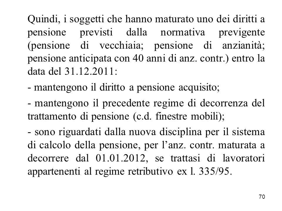 70 Quindi, i soggetti che hanno maturato uno dei diritti a pensione previsti dalla normativa previgente (pensione di vecchiaia; pensione di anzianità;