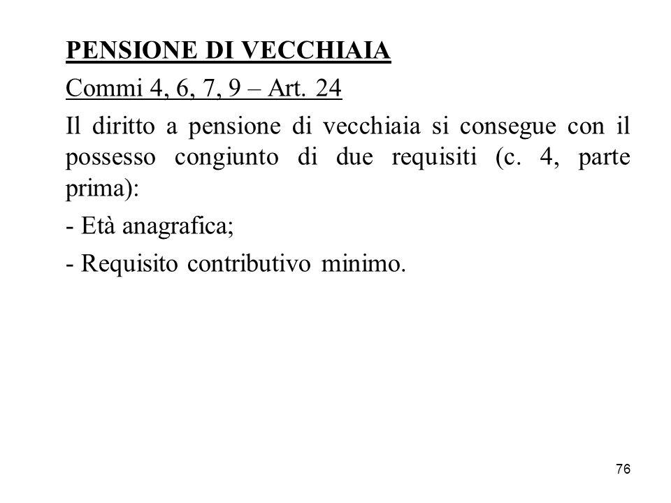 76 PENSIONE DI VECCHIAIA Commi 4, 6, 7, 9 – Art. 24 Il diritto a pensione di vecchiaia si consegue con il possesso congiunto di due requisiti (c. 4, p