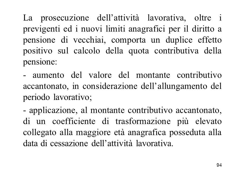 94 La prosecuzione dellattività lavorativa, oltre i previgenti ed i nuovi limiti anagrafici per il diritto a pensione di vecchiai, comporta un duplice