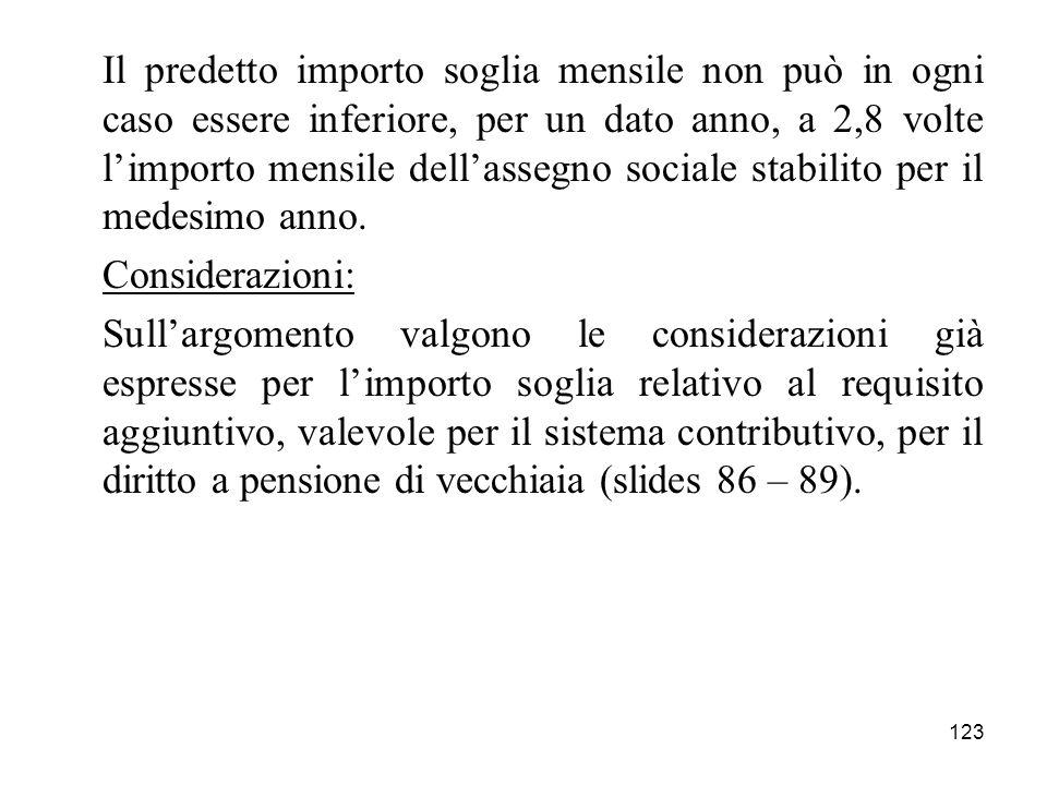 123 Il predetto importo soglia mensile non può in ogni caso essere inferiore, per un dato anno, a 2,8 volte limporto mensile dellassegno sociale stabilito per il medesimo anno.