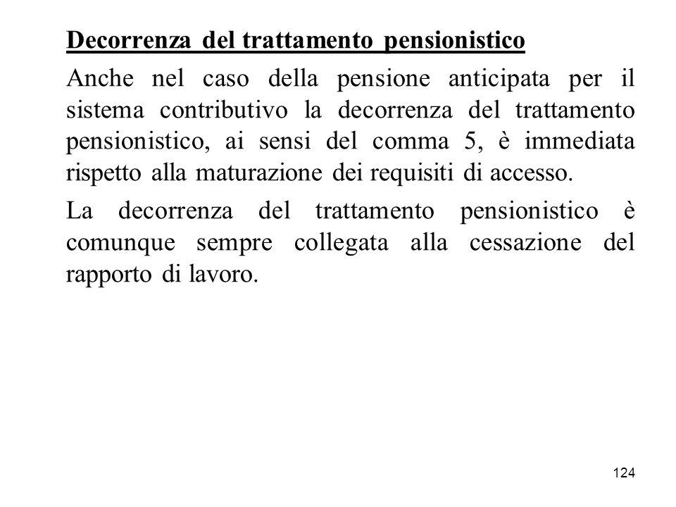 124 Decorrenza del trattamento pensionistico Anche nel caso della pensione anticipata per il sistema contributivo la decorrenza del trattamento pensionistico, ai sensi del comma 5, è immediata rispetto alla maturazione dei requisiti di accesso.