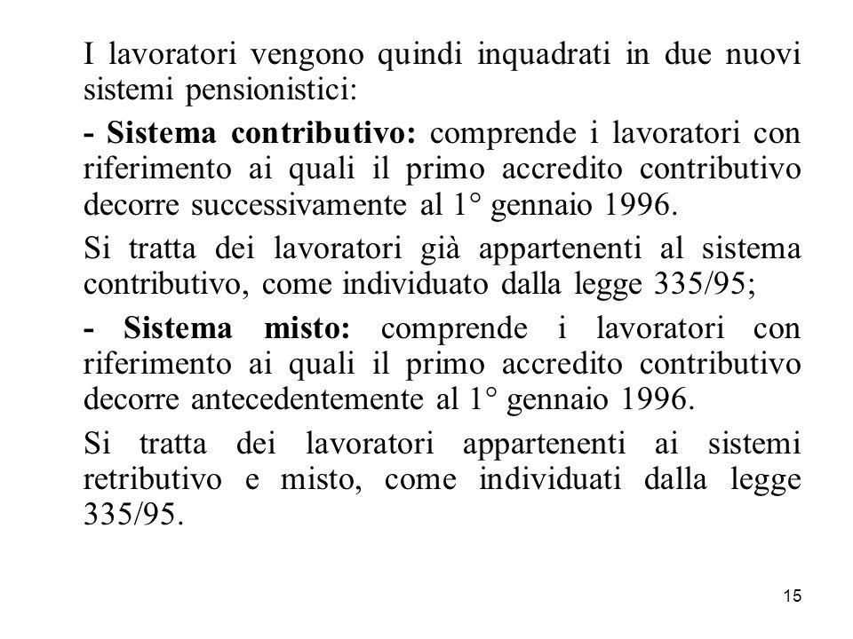 15 I lavoratori vengono quindi inquadrati in due nuovi sistemi pensionistici: - Sistema contributivo: comprende i lavoratori con riferimento ai quali il primo accredito contributivo decorre successivamente al 1° gennaio 1996.