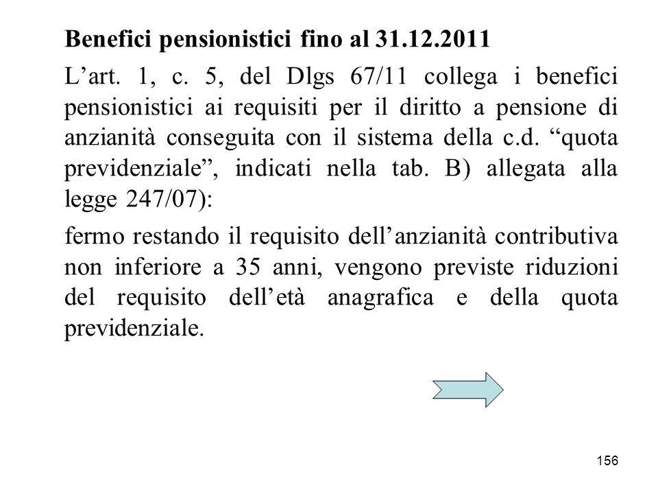 156 Benefici pensionistici fino al 31.12.2011 Lart.