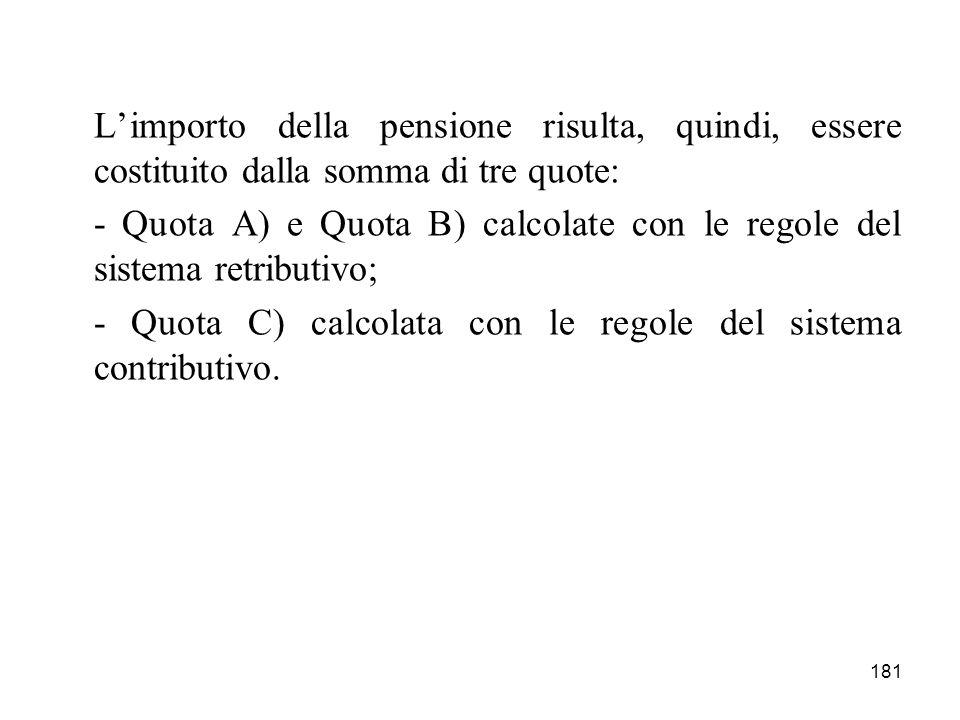 181 Limporto della pensione risulta, quindi, essere costituito dalla somma di tre quote: - Quota A) e Quota B) calcolate con le regole del sistema retributivo; - Quota C) calcolata con le regole del sistema contributivo.