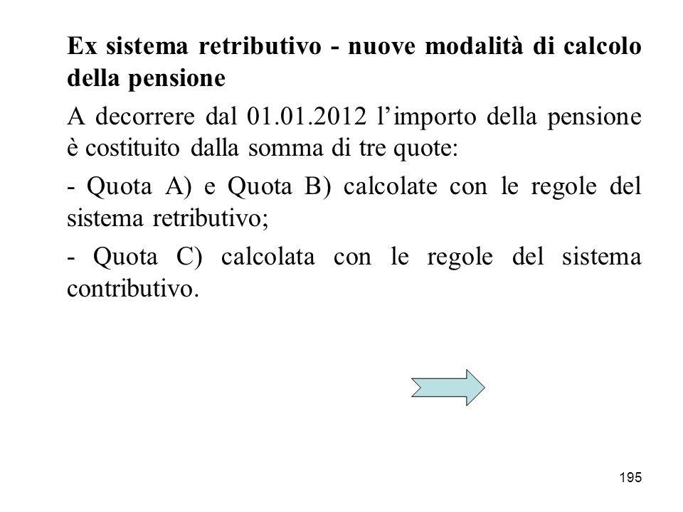 195 Ex sistema retributivo - nuove modalità di calcolo della pensione A decorrere dal 01.01.2012 limporto della pensione è costituito dalla somma di tre quote: - Quota A) e Quota B) calcolate con le regole del sistema retributivo; - Quota C) calcolata con le regole del sistema contributivo.